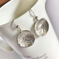 Handmade fine silver domed earrings