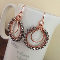 Dark grey crystal wire wrapped copper hoop earrings