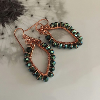 Green crystal wire wrapped copper earrings
