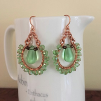 Pale green crystal wire wrapped copper earrings