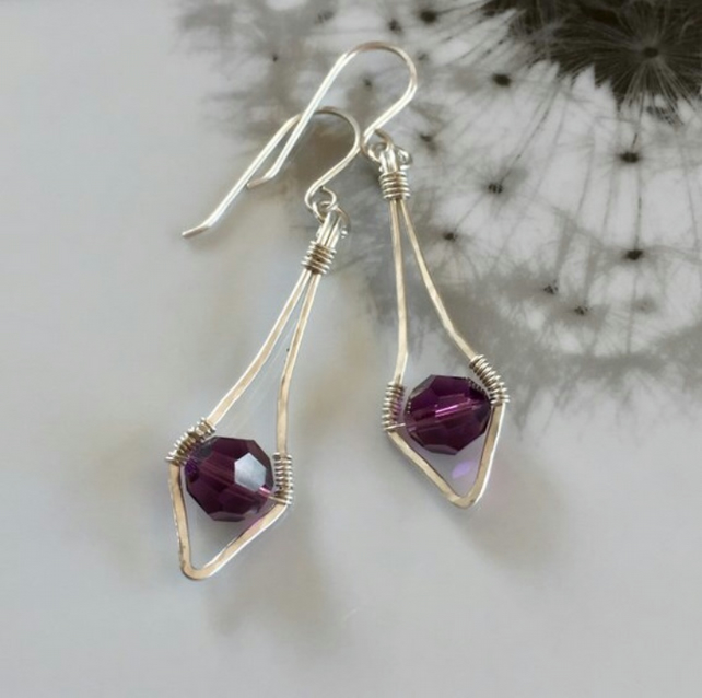 Sterling silver and swarovski crystal hammered earrings - Purple