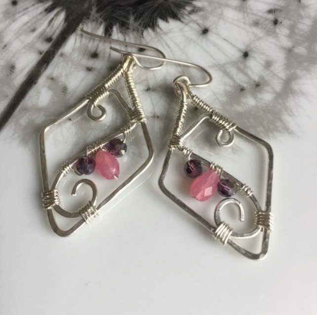 SALE!! Sterling silver diamond shaped wire wrapped earrings