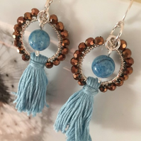 Handmade wire wrapped tassel earrings