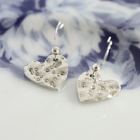 Heart earrings, Silver earrings, Small earrings