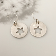Silver star earrings, Silver earrings