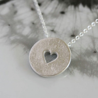 Open heart silver disc necklace - Available with a long length chain