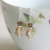 Swarovski Crystal drop earrings - Shades of brown