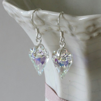 Swarovski Crystal heart earrings - Crystal AB