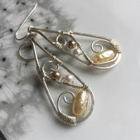 Sterling silver earrings, Wire wrapped, Statement jewellery