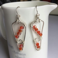 Orange and silver wire wrapped earrings