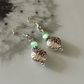Tibetan silver and green beaded earrings