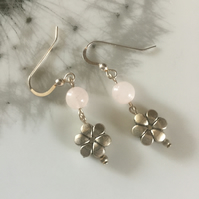 Rose quartz and tibetan silver flower earrings