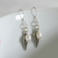 Sterling silver and freshwater pearl dangle earrings