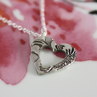 Fine silver cut out silver heart necklace