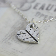Fine silver heart necklace with leaf print - Available with longer length chain