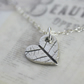 Fine silver heart necklace with leaf print