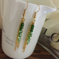 Gold crystal earrings - Green