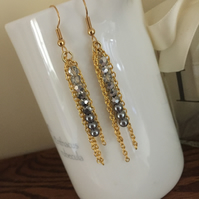 Gold crystal and Pearl earrings - Greys