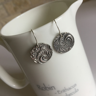 Large round fine silver earrings