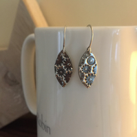 Fine silver flower print earrings
