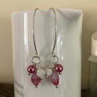 Pink Cluster Earrings, Silver earrings
