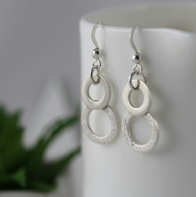 Fine silver double hoop earrings