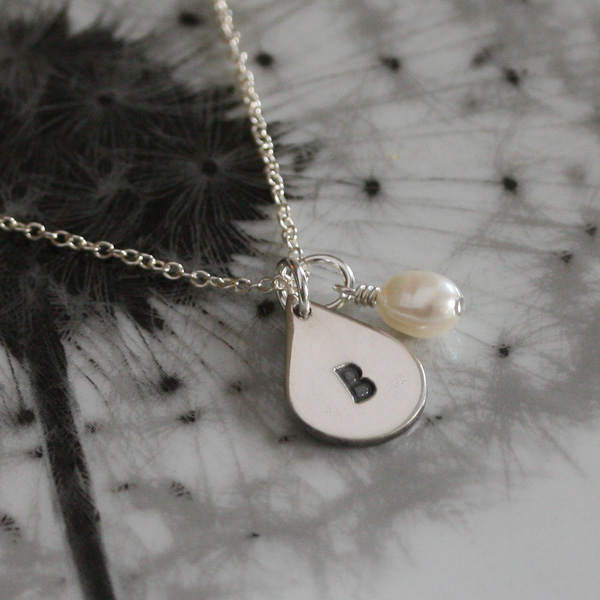 Personalised Silver necklace with Pearl