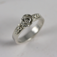 Handmade silver ring, Sterling Silver Rose ring Size R, Flower ring