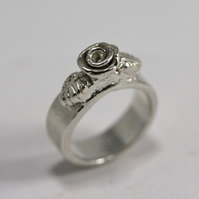 Sterling silver handmade ring, Sterling Silver Rose Ring, Silver rings Size L
