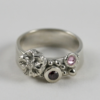 Sterling silver Pink and Purple Handmade Ring Size Q