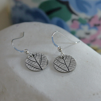 Small Silver round Leaf Print Earrings, Silver Earrings, Dark Finish