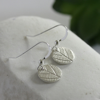 Small Silver round Leaf Print Earrings, Silver Earrings, Light Finish