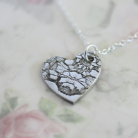 SALE!! Fine Silver Lace Print Pendant on a Sterling Silver chain
