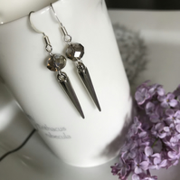 Grey Crystal Briolette Spike Earrings