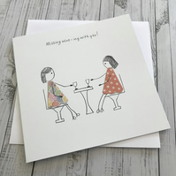 Missing wine-ing with you card, Missing you card