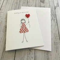 Sending you lots of love card, Happy birthday card, Love card