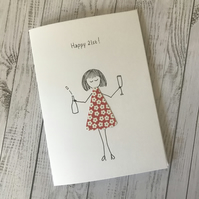 Happy 21st,  21st Birthday card, Personalised card