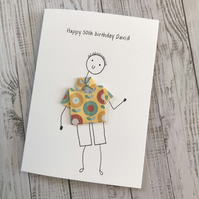 50th Birthday card, Mens Personalised card