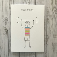 Weight lifter card, Weight lifting card, Personalised