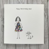 Cat Birthday Card, Cat lover, Cat card, Personalised
