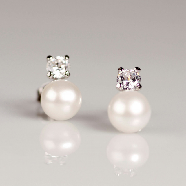 f8e0a75170bce Sterling silver pearl stud earrings Wedding bridal jewellery Anniversary  gift