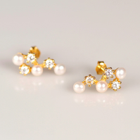 Silver pearl ear climbers Wedding bridal earrings Gold vermeil pearl studs gift