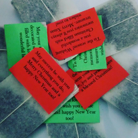 Personalized Tea Bags Tagged with Christmas greetings