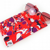 Red Marble Print Sunglasses Case