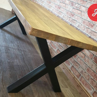 Industrial Style Dining Table - Reclaimed wood and Steel X Frame