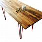 Walnut dining table worktop desk, with red hairpin legs