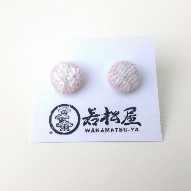Japanese Cherry Blossom Print, Fabric Button Earrings, 12mm, Sterling Silver