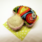 Woodland Mushroom Brooch in felt and fabric - Paisley toadstool