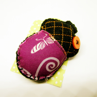 Woodland Acorn Brooch in felt and fabric - black and purple