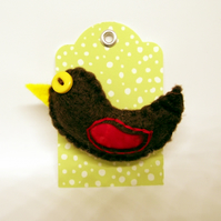 Woodland Bird - Felt and Fabric Brooch - Robin